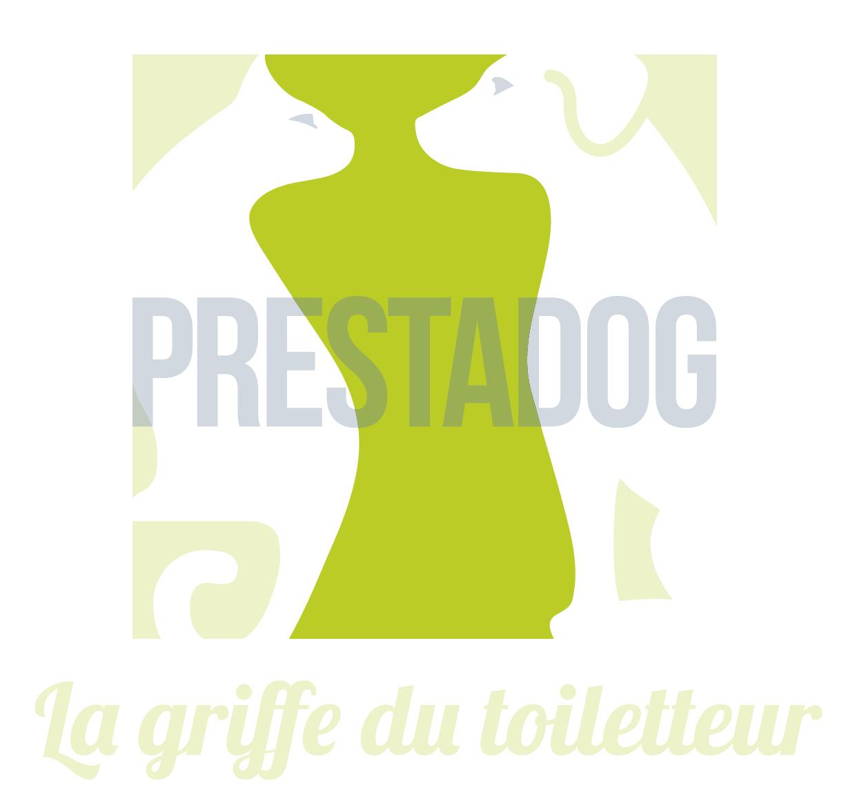 La toiletteuse au centre du logo Prestadog